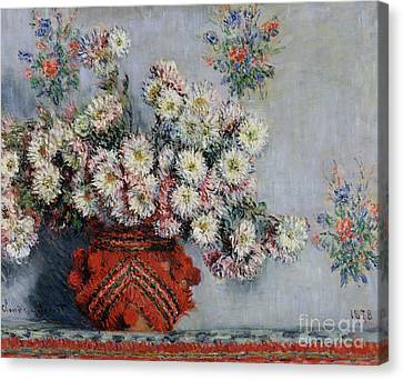 Dates Canvas Print - Chrysanthemums by Claude Monet