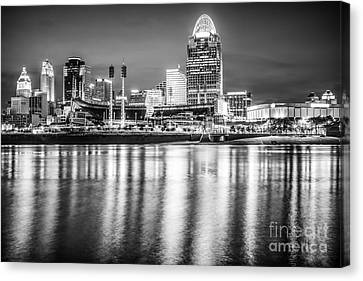 Ballpark Canvas Print - Cincinnati Skyline Black And White Picture by Paul Velgos