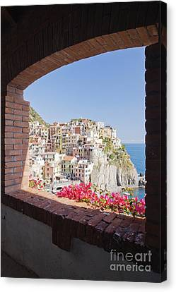 Cinque Terre Town Of Manarola Canvas Print by Jeremy Woodhouse