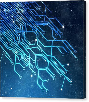 Circuit Board Technology Canvas Print by Setsiri Silapasuwanchai