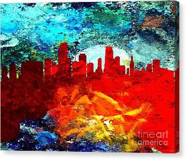 City Of Miami Grunge Canvas Print by Daniel Janda