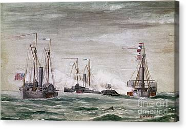 Civil War: Naval Battle Canvas Print by Granger