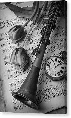 Brass Leafs Canvas Print - Clarinet In Black And White by Garry Gay