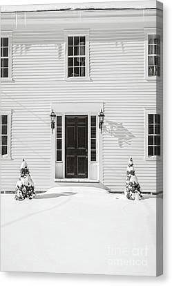 White Frame House Canvas Print - Classic New England Wood Framed Colonial Home In Winter by Edward Fielding