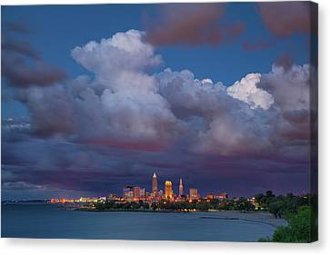 Canvas Print featuring the photograph Cleveland Skyline  by Emmanuel Panagiotakis