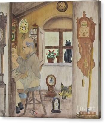 Canvas Print featuring the painting Clockmaker 2 by Annemeet Hasidi- van der Leij