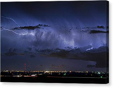 The Lightning Man Canvas Print - Cloud To Cloud Lightning Boulder County Colorado by James BO  Insogna