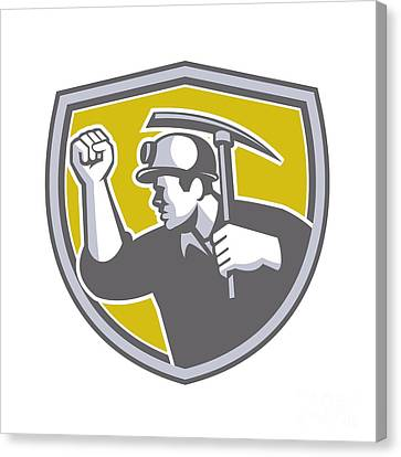Coal Miner Clenched Fist Pick Axe Shield Retro Canvas Print by Aloysius Patrimonio