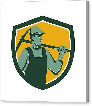 Coal Miner With Pick Axe Shield Retro Canvas Print by Aloysius Patrimonio