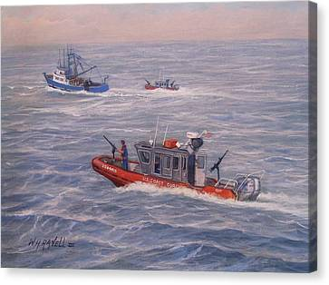 Law Enforcement Canvas Print - Coast Guard In Pursuit by William H RaVell III
