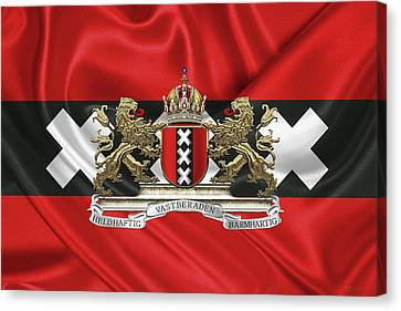 Coat Of Arms Of Amsterdam Over Flag Of Amsterdam Canvas Print by Serge Averbukh