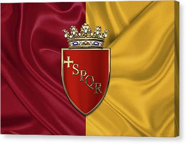 Coat Of Arms Of Rome Over Flag Of Rome Canvas Print by Serge Averbukh