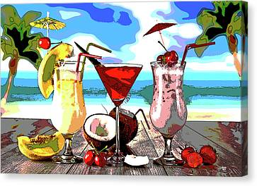 Booze Canvas Print - Cocktails On The Beach by Charles Shoup