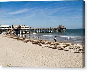 Cocoa Beach In Florida Canvas Print by Allan  Hughes