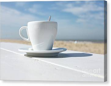 Canvas Print featuring the photograph Coffee On The Beach by Patricia Hofmeester