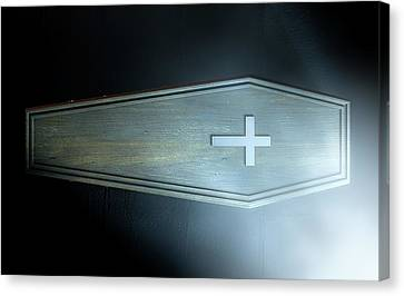 Coffin And Crucifix Canvas Print