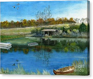 Canvas Print featuring the painting Cole Hill Pond by Melly Terpening