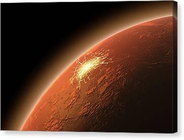 Colonization Of Mars Canvas Print by Allan Swart