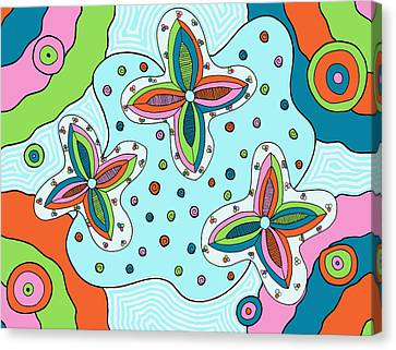 Canvas Print featuring the drawing Color Collision by Jill Lenzmeier