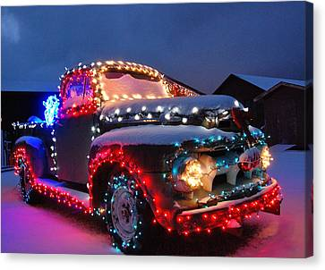 Colorado Christmas Truck Canvas Print by Bob Berwyn