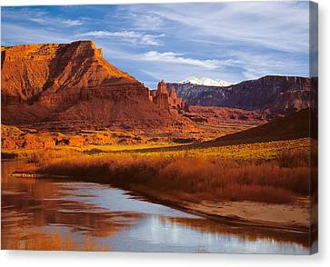 Colorado River At Fisher Towers Canvas Print