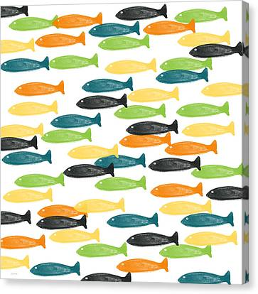 Kid Wall Art Canvas Print - Colorful Fish  by Linda Woods