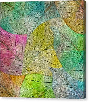 Canvas Print featuring the digital art Colorful Leaves by Klara Acel