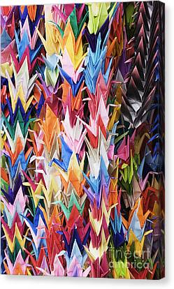 Colorful Origami Cranes Canvas Print by Jeremy Woodhouse