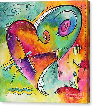 Colorful Whimsical Pop Art Style Heart Painting Unique Artwork By Megan Duncanson Canvas Print