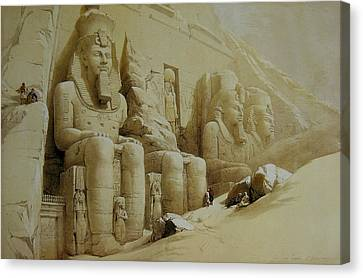 Statue Of David Canvas Print - Colossal Figures In Front Of The Great Temple Of Aboo-simbel by David Roberts