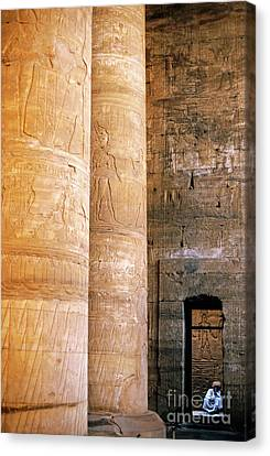 Columns With Hieroglyphs Depicted Horus At The Temple Of Edfu Canvas Print by Sami Sarkis