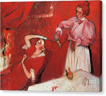 Woman Combing Her Hair Canvas Print - Combing The Hair  La Coiffure by Edgar Degas