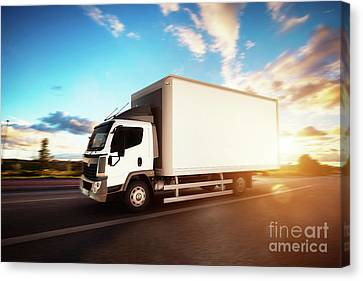 Fast Shipping Canvas Print - Commercial Cargo Delivery Truck With Blank White Trailer Driving On Highway. by Michal Bednarek