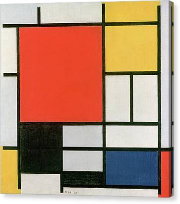 Composition In Red, Yellow, Blue And Black Canvas Print by Piet Mondrian
