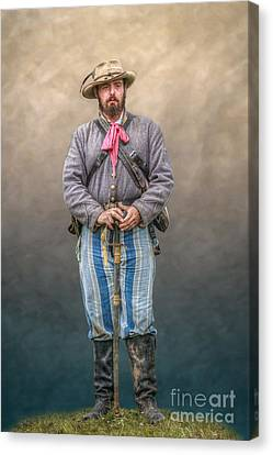 Confederate Soldier With Sword Portrait Canvas Print by Randy Steele