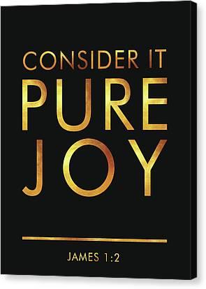 Religious Canvas Print - Consider It Pure Joy - James 1 2 - Bible Verses Art by Studio Grafiikka