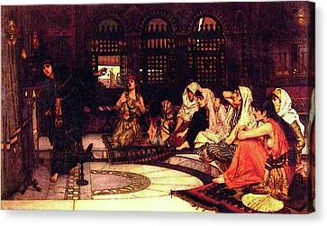 Consulting The Oracle Canvas Print by John William Waterhouse