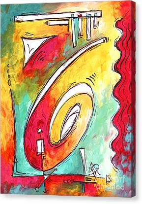 Contemporary Abstract Pop Art Style Original Painting Enjoy Life By Megan Duncanson Canvas Print by Megan Duncanson