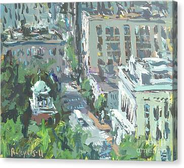 Contemporary Richmond Virginia Cityscape Painting Canvas Print by Robert Joyner