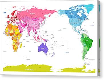 Continents World Map Canvas Print by Michael Tompsett