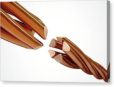 Copper Wire Strands Disconnected Canvas Print by Allan Swart