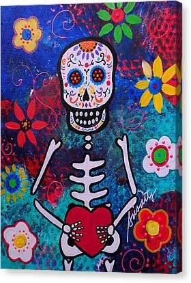 Corazon Day Of The Dead Canvas Print by Pristine Cartera Turkus