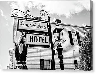 Cornstalk Fence Hotel Bw Canvas Print