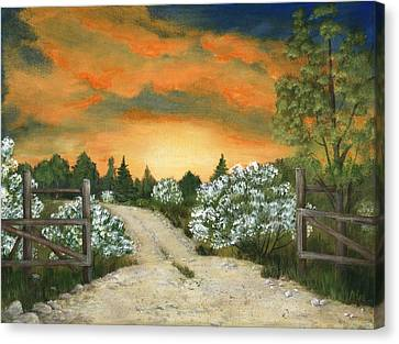 Canvas Print featuring the painting Country Road by Anastasiya Malakhova
