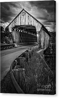 Covered Bridge Willard West Twin Hartland Vermont Canvas Print