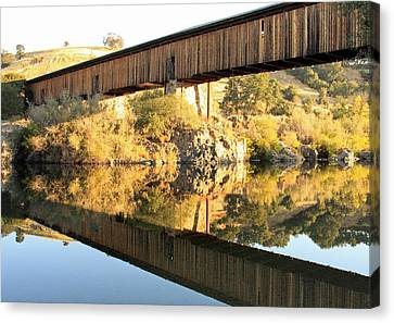 Covered Bridge Reflection Canvas Print
