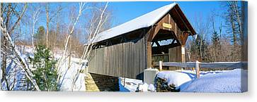 Covered Bridge, Stowe, Winter, Vermont Canvas Print by Panoramic Images