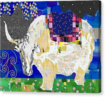 Stay Curious Cow Collage  Canvas Print by Claudia Schoen