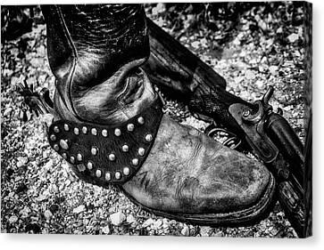 Cowboy Boot Wirth Spur And Shotgun Canvas Print