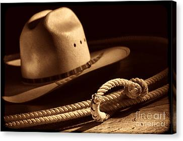 Cowboy Hat And Lasso Canvas Print by American West Legend By Olivier Le Queinec